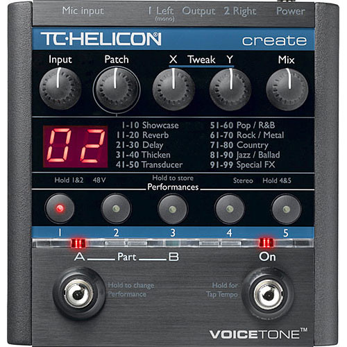 tc helicon voicetone create effects pedal for vocals 996 000411. Black Bedroom Furniture Sets. Home Design Ideas