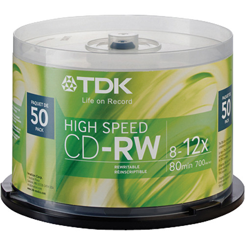 tdk cd rw compact discs spindle pack of 50 48275 b h photo. Black Bedroom Furniture Sets. Home Design Ideas