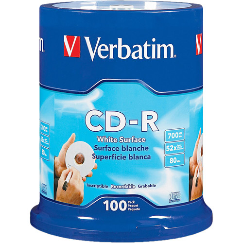 Verbatim CD-R 700MB White Disc (100) 94712 B&H Photo Video