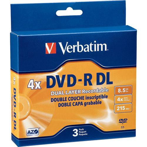 verbatim dvd r dual layer 8 5gb 3 95165 b h photo video. Black Bedroom Furniture Sets. Home Design Ideas