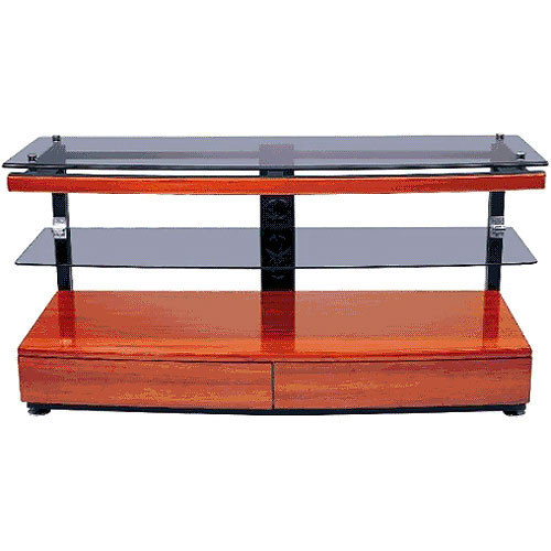 Vidpro Gkr 696 2 Shelf Cherry Wood Glass Tv Stand Gkr696