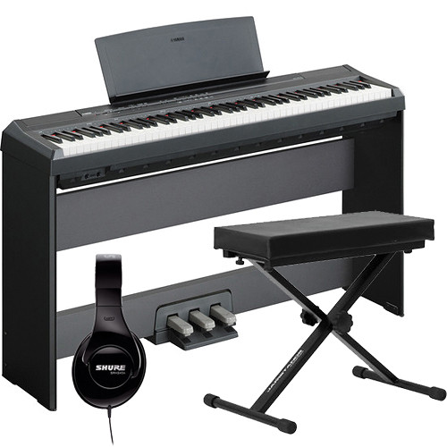 yamaha p 105 88 key piano home studio bundle black b h photo. Black Bedroom Furniture Sets. Home Design Ideas