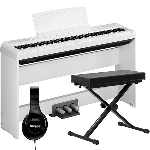 yamaha p 105 88 key piano home studio bundle white b h photo. Black Bedroom Furniture Sets. Home Design Ideas