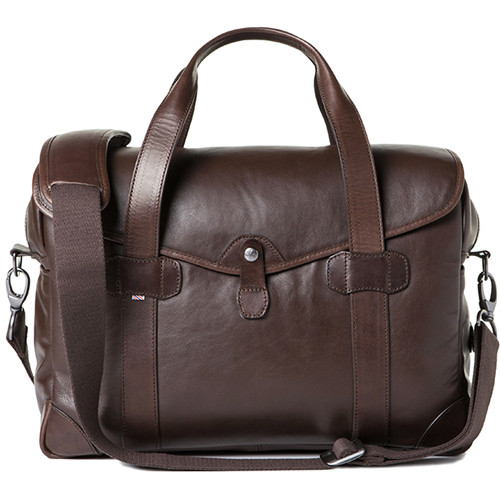 Barber Medium Messenger Bob Cut Borsa Camera Bag Smooth Leather Dark Brown