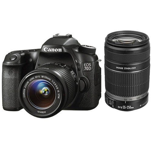Canon eos 70d dslr camera kit with 18 55mm and 55 250mm lenses