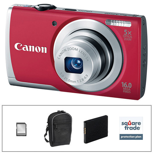 Canon PowerShot A2500 Digital Camera Deluxe Accessory Kit Red