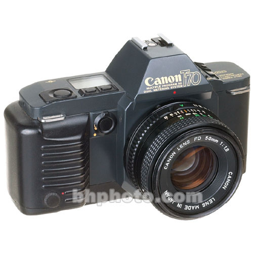 used canon t70 35mm slr manual focus camera with 50mm f  1