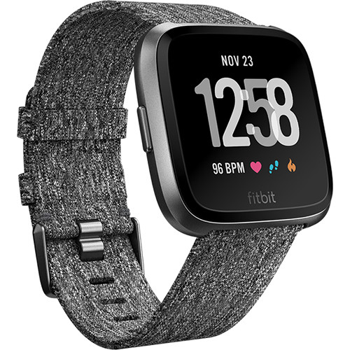 3adf3aa3aec Fitbit Versa Fitness Watch Special Edition (Charcoal Woven/Graphite  Aluminum)