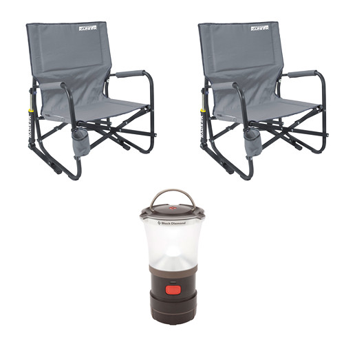 Gci Outdoor Firepit Rocker Chairs 2x With Led Camp Lantern