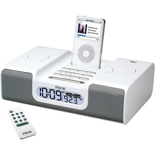 ihome ih6 dual alarm clock radio white ih6w b h photo video. Black Bedroom Furniture Sets. Home Design Ideas