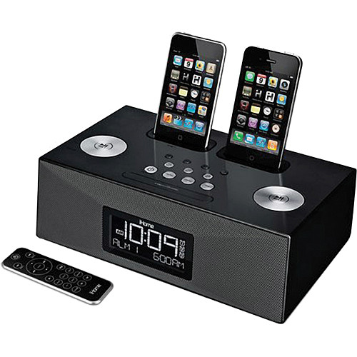 ihome ip86 dual dock alarm clock radio for iphone ipod ip86bzc. Black Bedroom Furniture Sets. Home Design Ideas