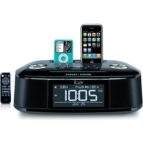 iluv imm173 ipod iphone hi fi dual alarm clock radio. Black Bedroom Furniture Sets. Home Design Ideas