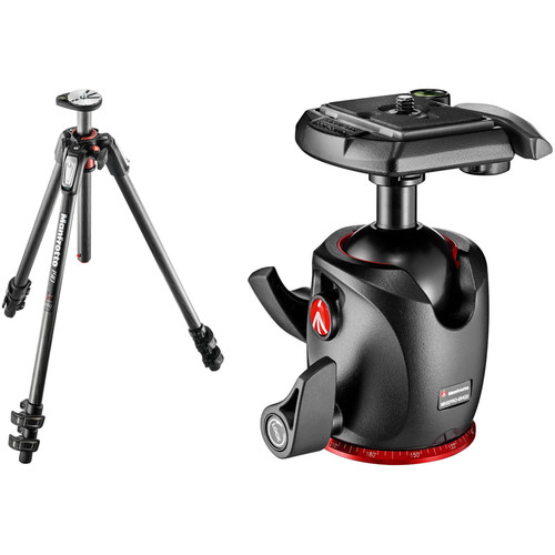 manfrotto mt190cxpro3 carbon fiber tripod kit with mhxpro