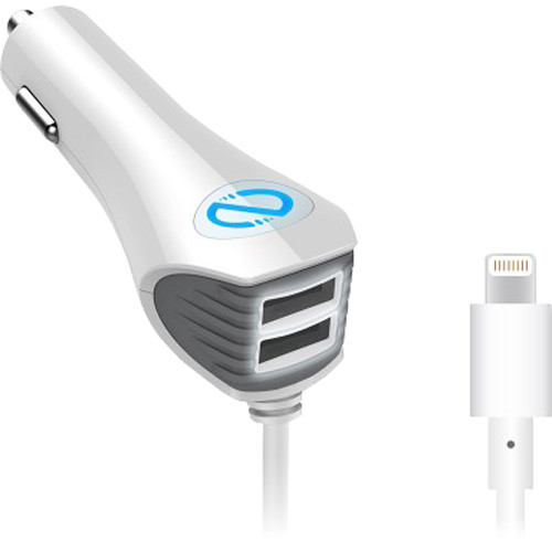 Naztech N420 Wired Trio Car Charger With Lightning Connector White