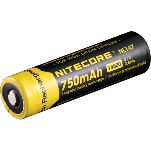 nitecore 14500 li ion rechargeable battery 3 7v 750mah nl147. Black Bedroom Furniture Sets. Home Design Ideas