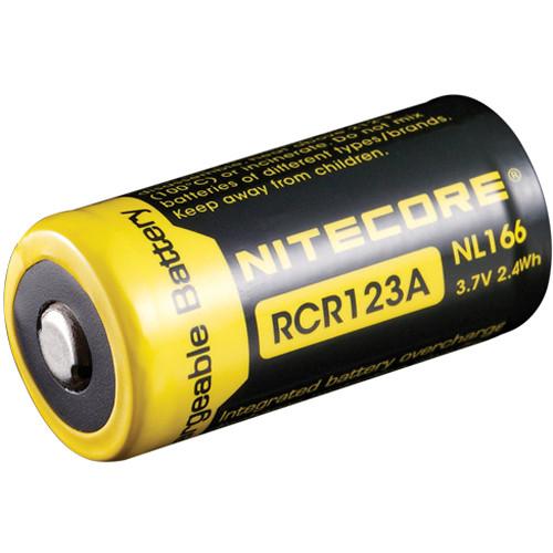 nitecore rcr123a li ion rechargeable battery 3 7v 650mah. Black Bedroom Furniture Sets. Home Design Ideas