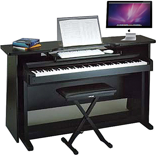 Omnirax Surround Desk For Digital Piano With Music Stand And Shelf Black Melamine