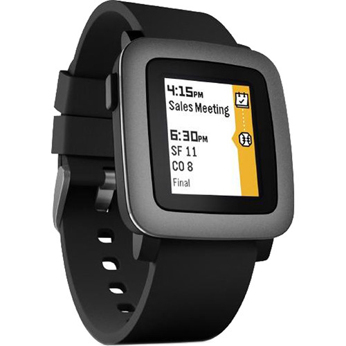 Pebble Time Smartwatch (Black with Black Bezel) 501-00020 B&H
