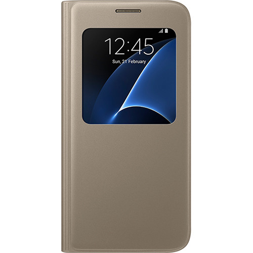 Samsung S View Flip Cover For Galaxy S7 Gold Ef Cg930pfegus