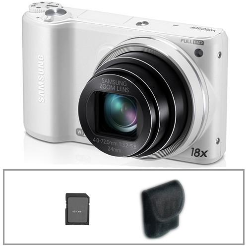 samsung wb250f smart digital camera basic kit  white  b u0026h