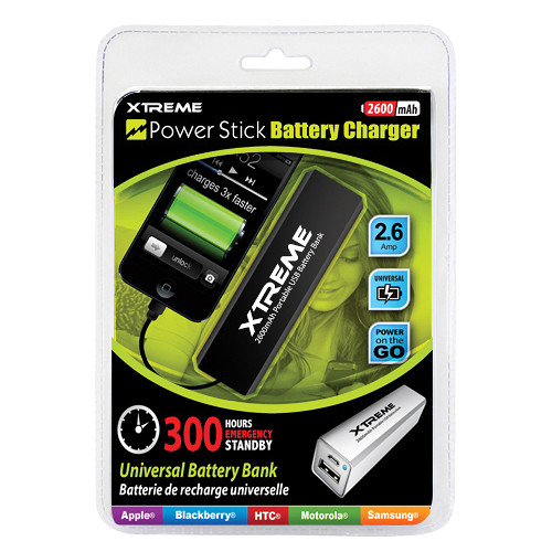 Xtreme Cables 2600mah Power Stick Battery Bank Black 88260 Bh