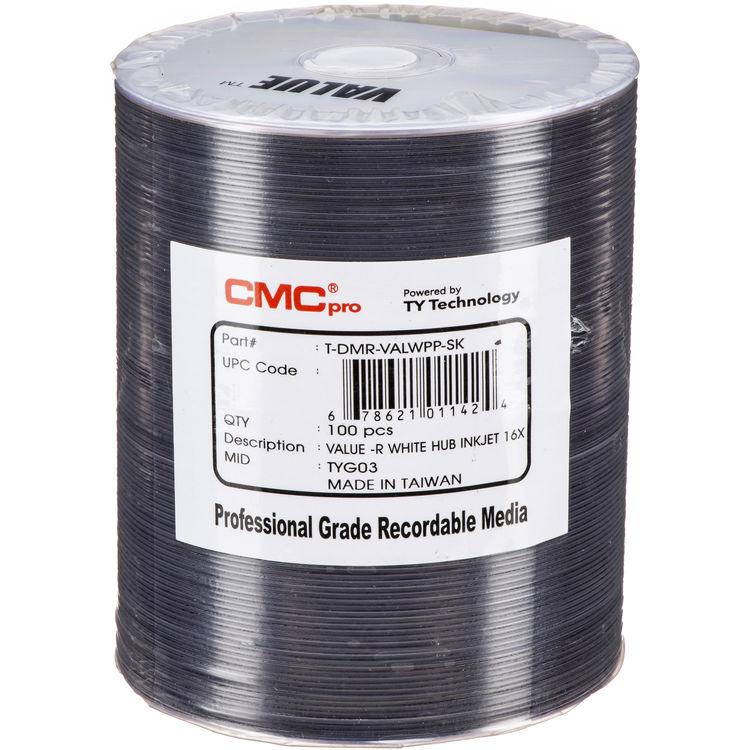 CMC Pro DVD R 47GB 8x Value Inkjet Printable Discs 100 Pack