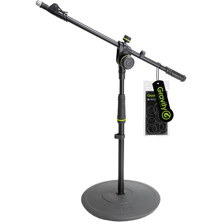 gravity stands short microphone stand with round base gms2222b. Black Bedroom Furniture Sets. Home Design Ideas