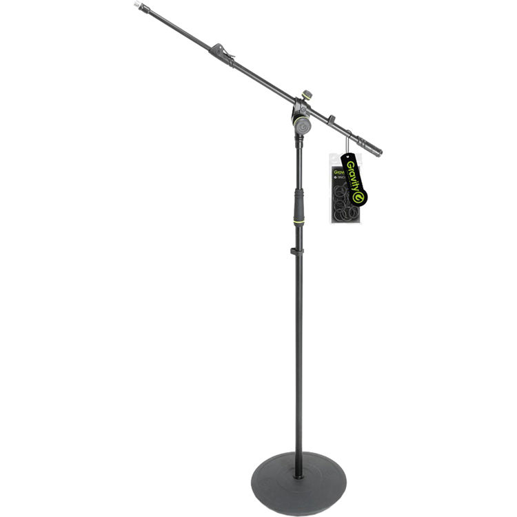 gravity stands microphone stand with round base and gms2322b b h. Black Bedroom Furniture Sets. Home Design Ideas
