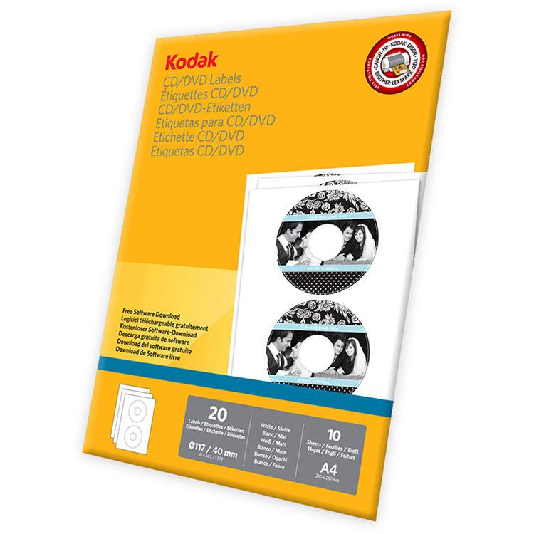 kodak cddvd labels a4 83 x 117 20 labels