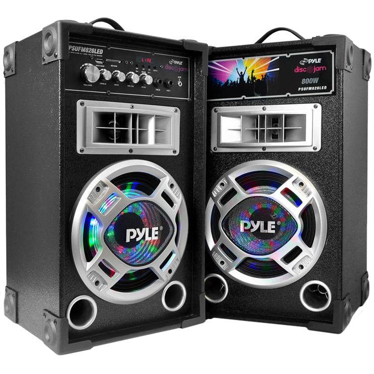 Pyle Pro Disco Jam Dual 8 Bookshelf Tower Stereo Speaker System