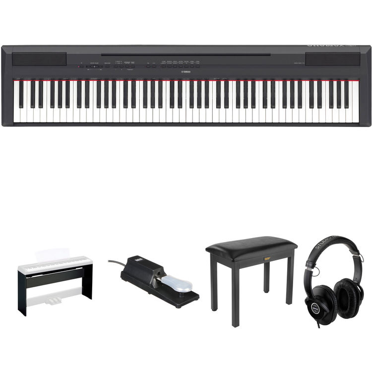 yamaha p 115 88 key digital piano kit with stand pedal. Black Bedroom Furniture Sets. Home Design Ideas