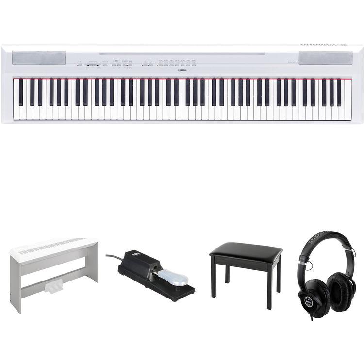 Yamaha p 115 88 key digital piano kit with stand pedal for Yamaha white piano bench