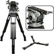 Cartoni S121 Sigma Aluminum Tripod System - consists of: S101 Fluid Head, K706 1-Stage Heavy-Duty Tripod and Mid-Level Spreader w/ Foot Pads - Supports 88 lbs
