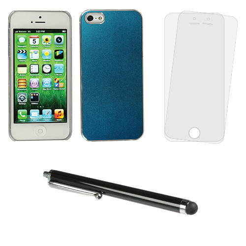 Xuma Blue Aluminum Snap-on Case for iPhone 5/5s with Stylus and Screen Protectors Kit
