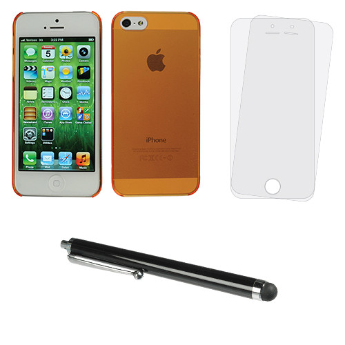 Xuma Orange Ultra-Slim Snap-on Case for iPhone 5/5s with Stylus and Screen Protectors Kit