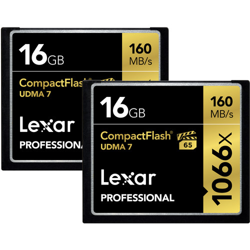 Lexar 16GB Professional 1066x Compact Flash Memory Card (UDMA 7, 2-Pack)