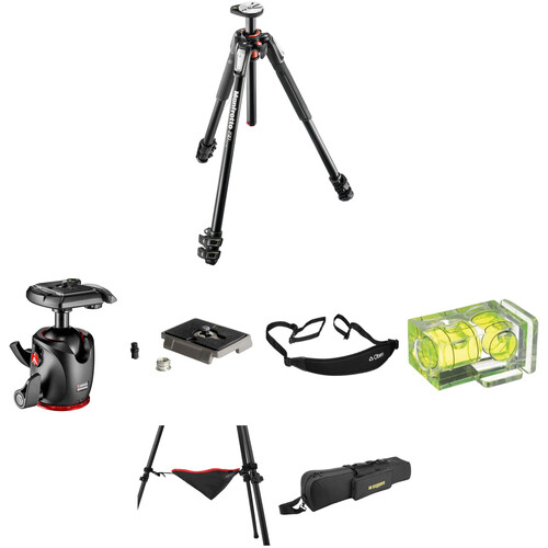 Manfrotto MT190XPRO3 Aluminum Tripod with 498RC4 Midi Ball Head Deluxe Kit