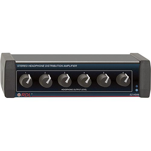 RDL EZ-HDA6 6-Channel Stereo Headphone Distribution Amplifier (Rear Outputs)