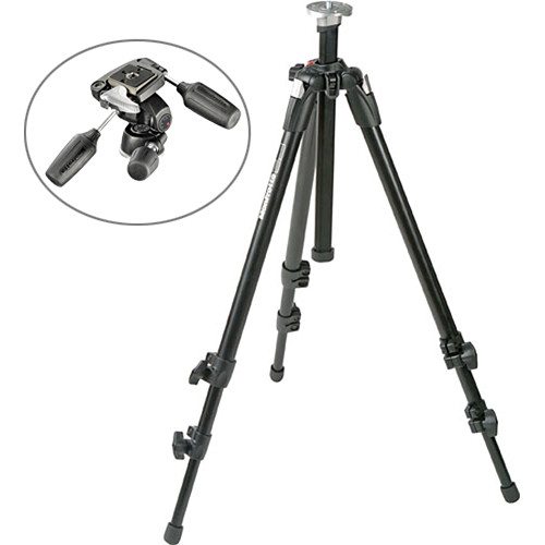 Manfrotto 190XDB Tripod Legs (Black) with 804RC2 3-Way Head