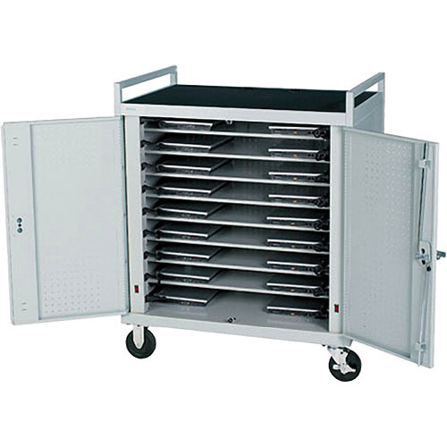 Bretford Antimicrobial 18 Unit Notebook Cart with Front Electrical Access