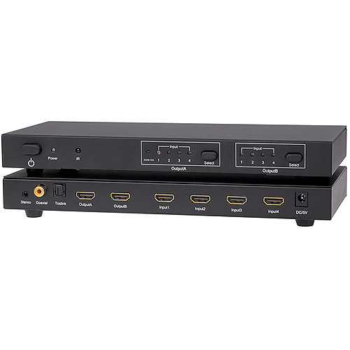 KanexPro HDMI 4x2 True Matrix Switcher with Signal Equalization & Audio Support