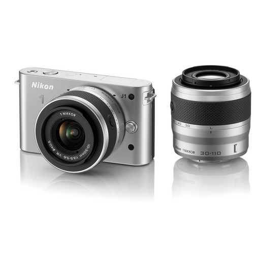 Nikon 1 J1 Mirrorless Digital Camera with 10-30mm / 30-110mm Lens (Silver)