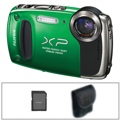 Fujifilm FinePix XP50 Digital Camera (Green) with Basic Accessory Kit