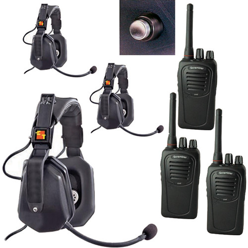 Eartec 3-User SC-1000 Two-Way Radio with Ultra Double Shell Mount PTT Headsets