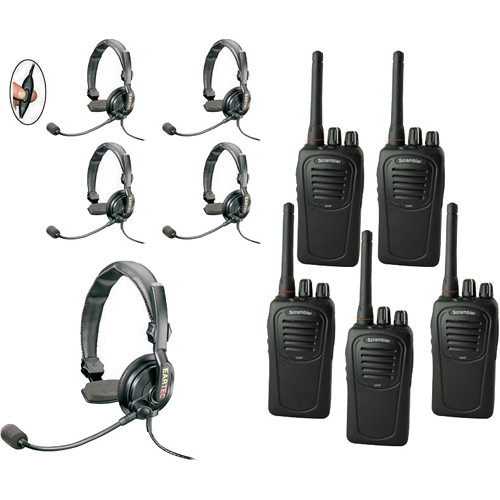 Eartec 5-User SC-1000 Two-Way Radio with Slimline Single Inline PTT Headsets