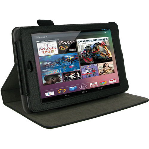 rooCASE Dual-View Vegan Leather Case Cover for Google Nexus 7 Tablet (Black)