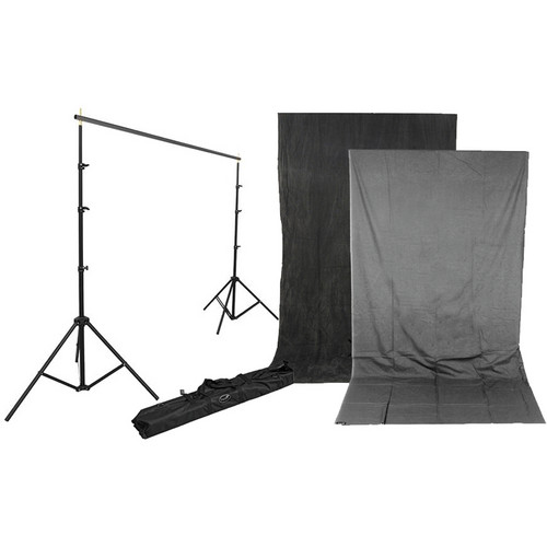 Impact Background Kit with 10 x 12' Charcoal/Smoke Gray Reversible Muslin Backdrop
