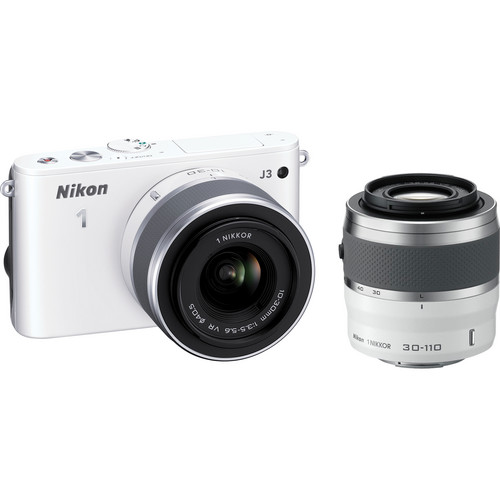 Nikon 1 J3 Mirrorless Digital Camera with 10-30mm and 30-110mm Lenses (White)