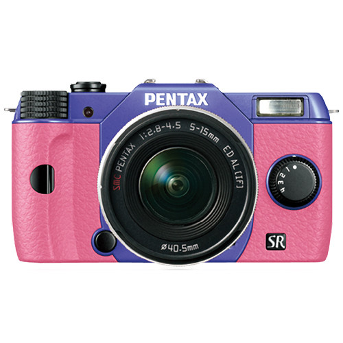 Pentax Q10 Compact Mirrorless Camera with 5-15mm Lens (Violet / Pink)