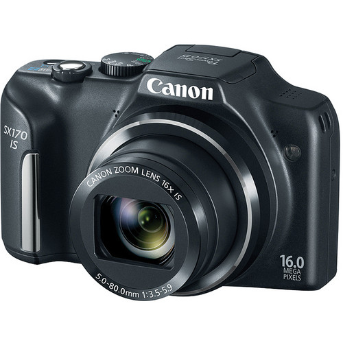 Canon Power Shot SX170 IS Point-and-Shoot Camera (Black)